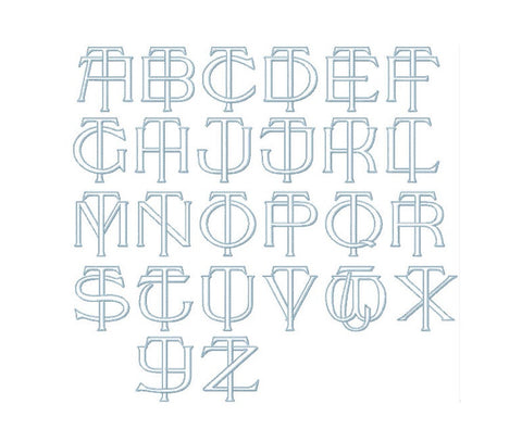 "3.5"" T Embroidery Font Two Type Outline Font"