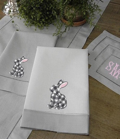 Gingham Rabbit Embroidery Design