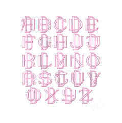 "1.5"" Two Type Outline Satin Embroidery Font Package"
