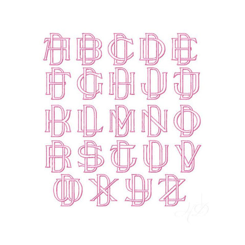 Two Type Outline Satin Embroidery Font Package 4x4 Hoop