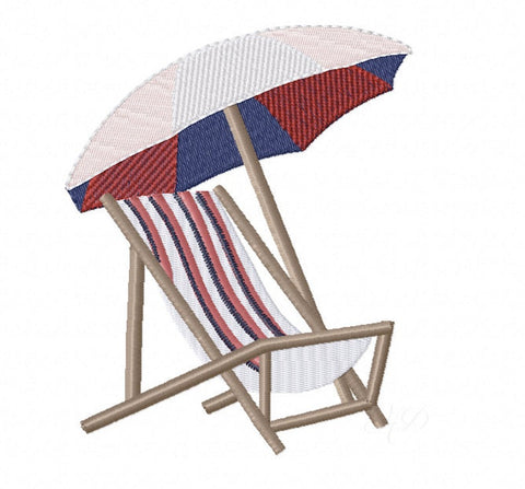 Beach Chair Embroidery Design