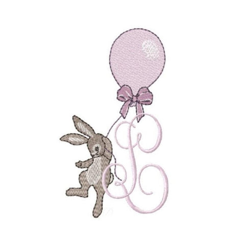 Rabbit with Balloon Embroidery Design