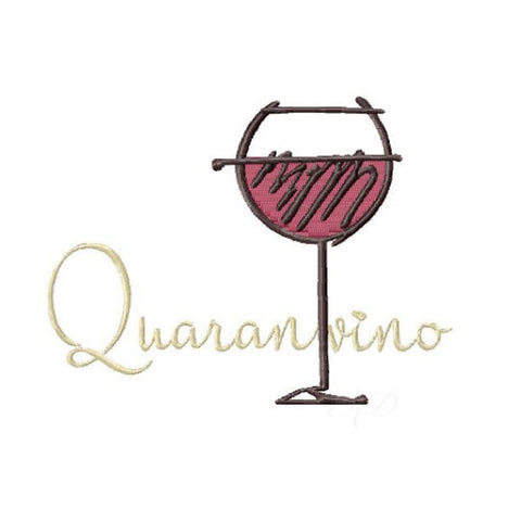 Quaranvino Wine Quarantine Embroidery Design