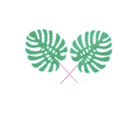 Monstera Leaf Embroidery Design