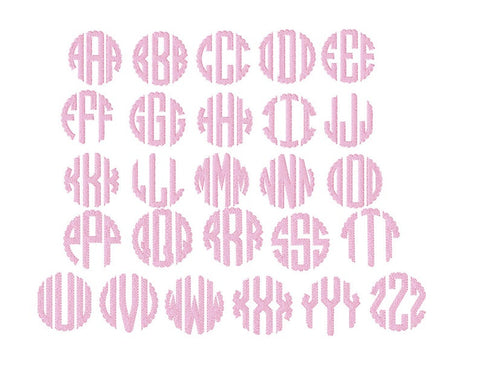Scalloped Circle Monogram Fill Font