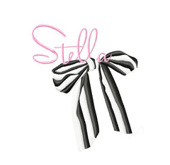 Bold Striped Bow Embroidery Design