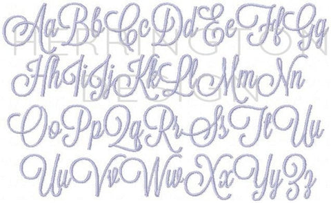 7 sizes Satin Stitch Emily Script Embroidery Font