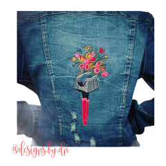 Fashion Girl Carrying Flower Bouquet Embroidery Design