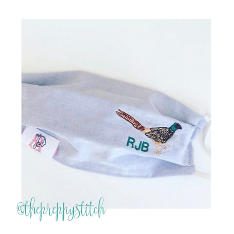 Pheasant Embroidery Design Monogram