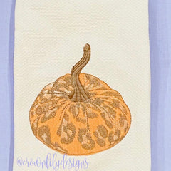 Leopard Fabric Pumpkin Embroidery Design