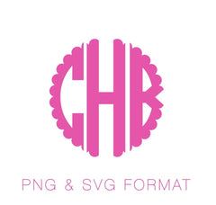 Scalloped Circle PNG SVG Monogram Font