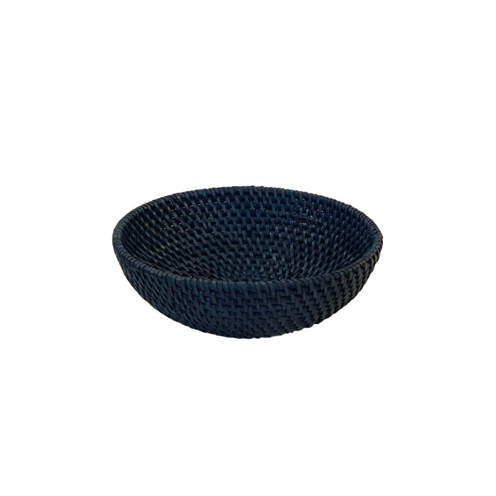 Small Rattan Bowl in Navy Blue