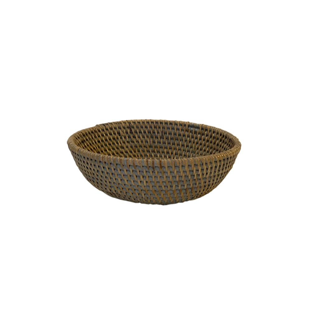 Small Rattan Bowl in French Grey
