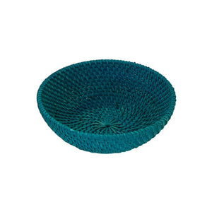Small Rattan Bowl in Turquoise