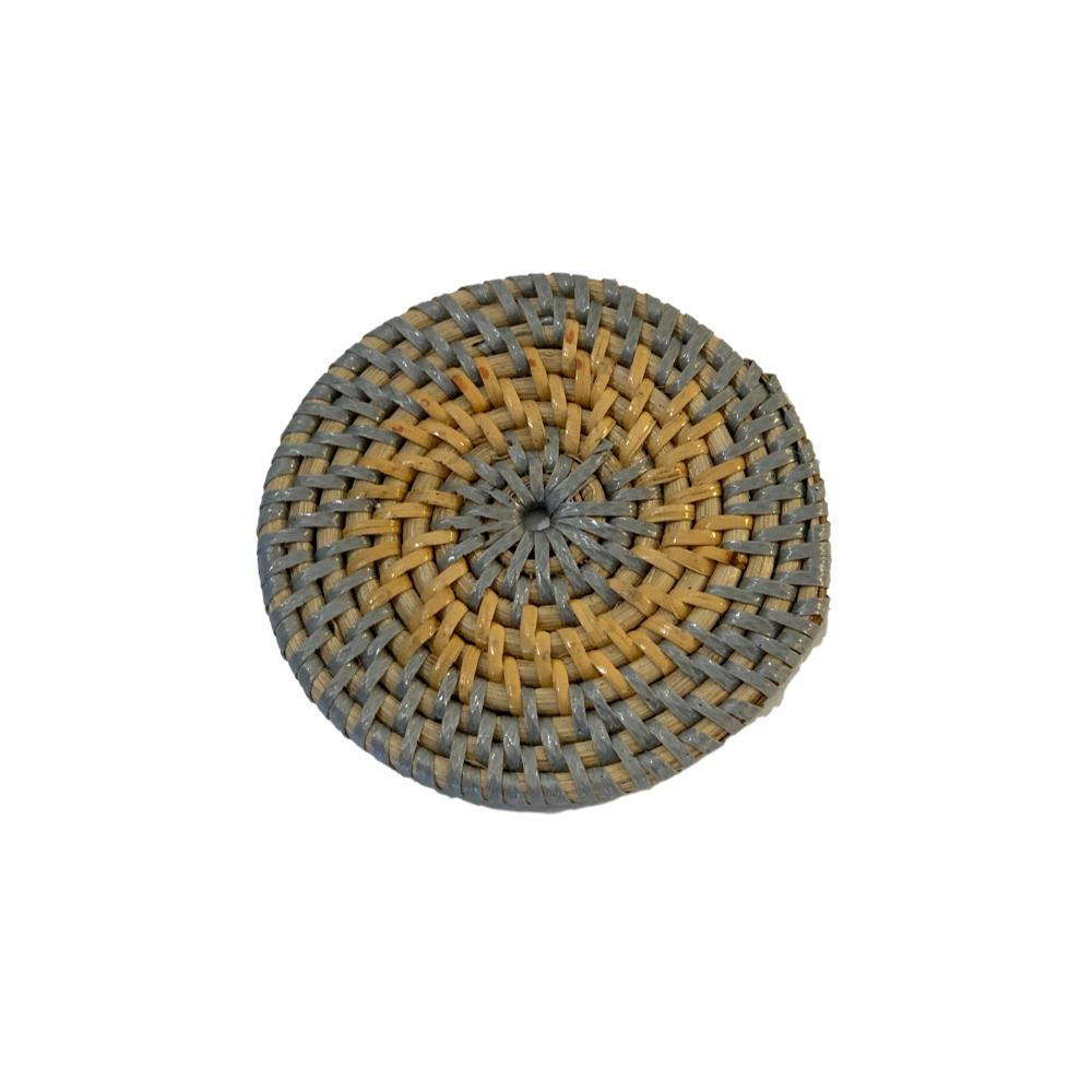 Rattan Coaster in Silver/Natural
