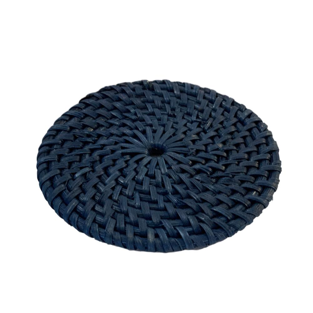 Rattan Coaster in Navy Blue