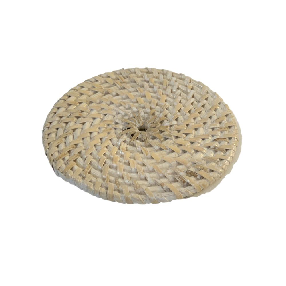 Rattan Coaster  in White wash