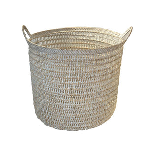 Rattan Net Basket in White Wash