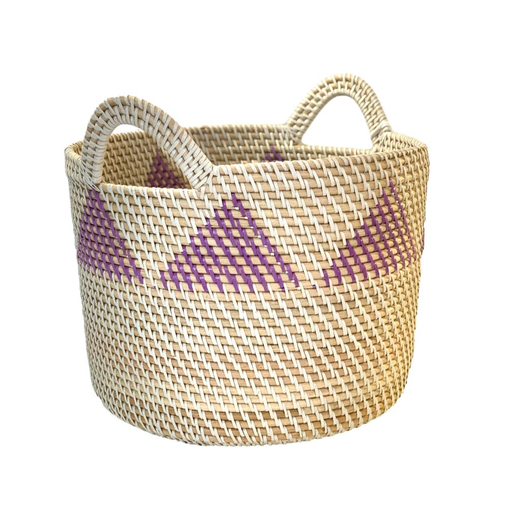 Rattan Storage Basket Medium in Purple