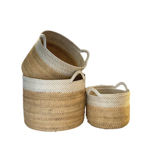 Rattan Medium Basket in White / Natural