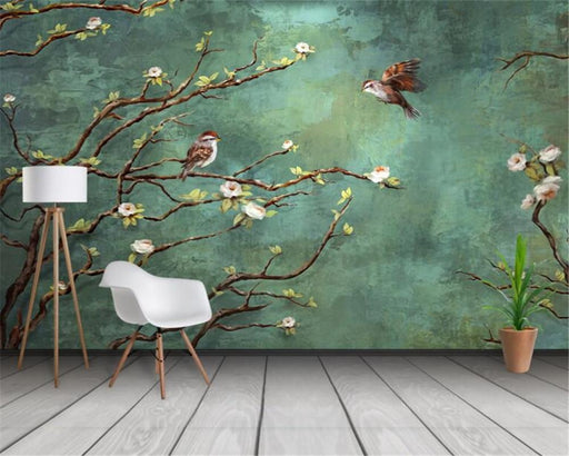 3D Wallpapers - 3D Mural Painted Birds & Trees Decoration Wallpaper