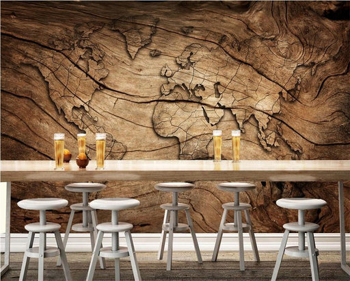 3D Wallpapers - 3D Worldmap Vintage Wood Grain Wallpaper Sticker