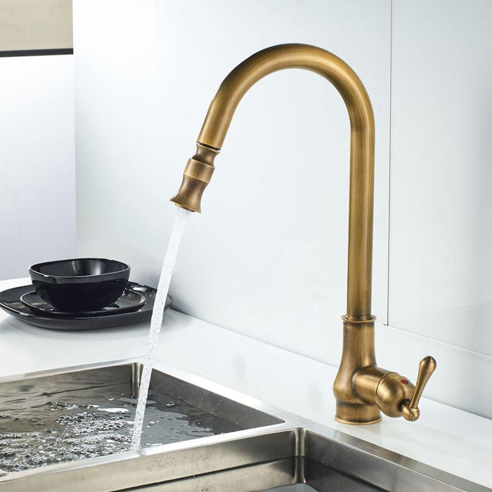 Kitchen Faucet - Antique 360 Degree Pull Down Mixer Tap