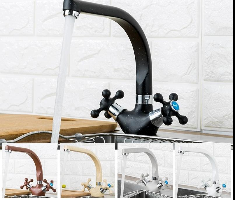 Kitchen Faucet - Double Handle 360 Rotation Mixer Tap