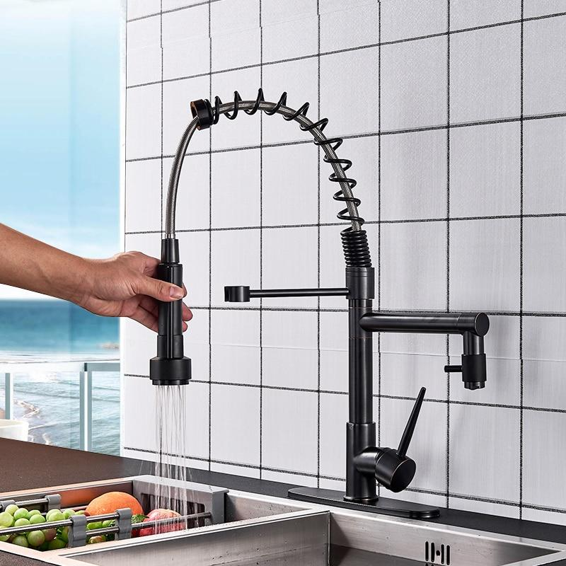 Pull Out Spring Kitchen Faucet With A Full Rotation Feature