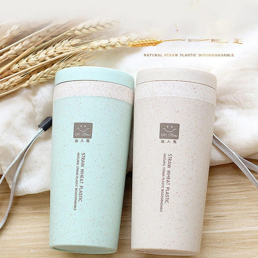 Tumblers - Eco-Friendly Lid Wheat Straw Double Insulated Tumbler