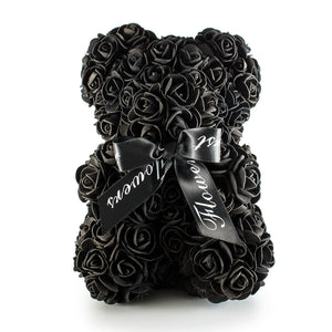 Black Luxury Handmade Rose Teddy Bear