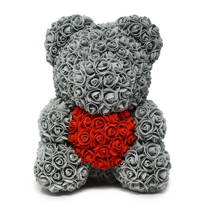 Grey with red heart - Flowers First