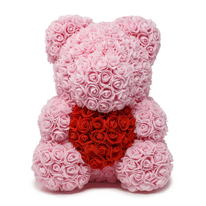 Light Pink Rose Teddy Bear & Red Heart -1