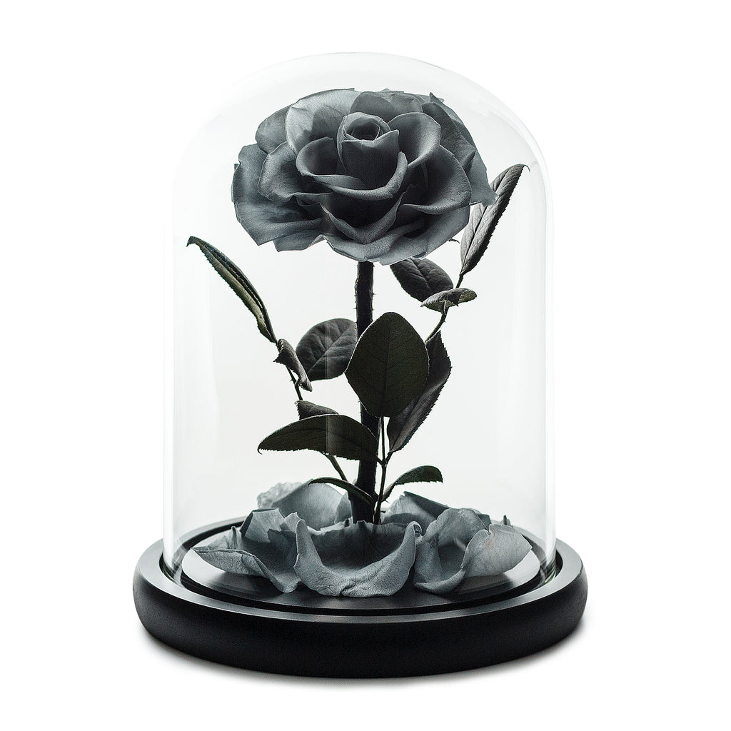 Grey Infinity Rose in Glass Dome -1