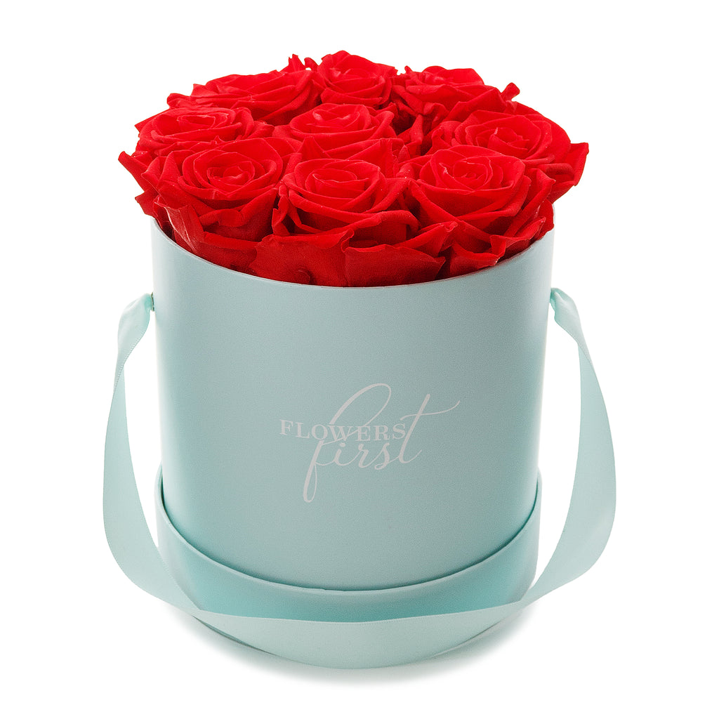 Red Roses & M Round Blue Hat Box -1