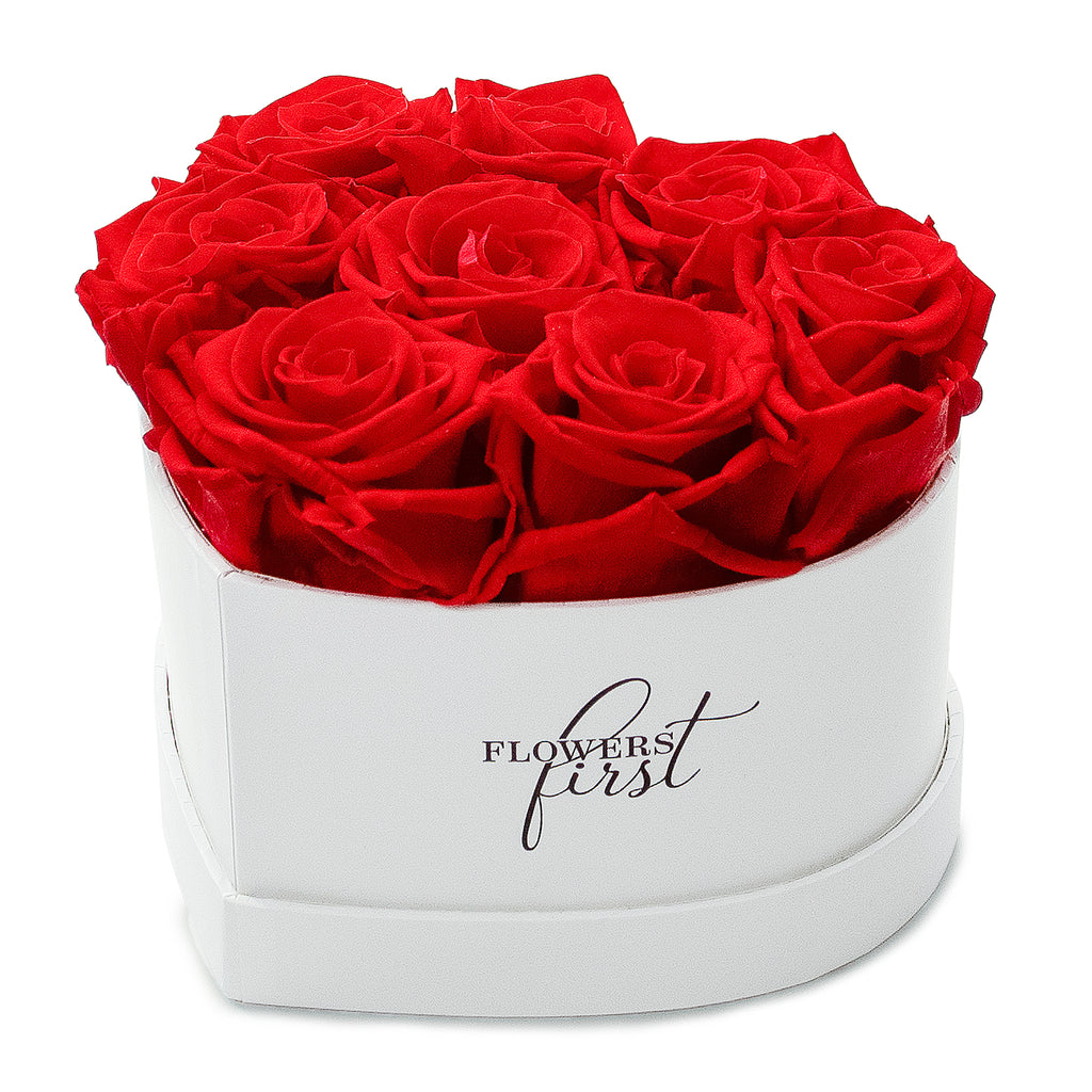 Red Roses & Heart Shaped White Box -1