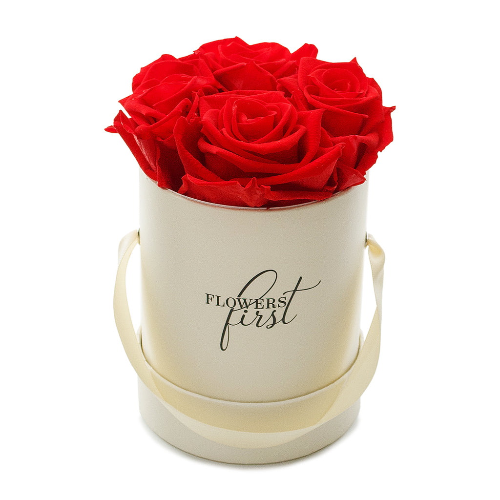 Roses & Beige Small Round Hat Box -1