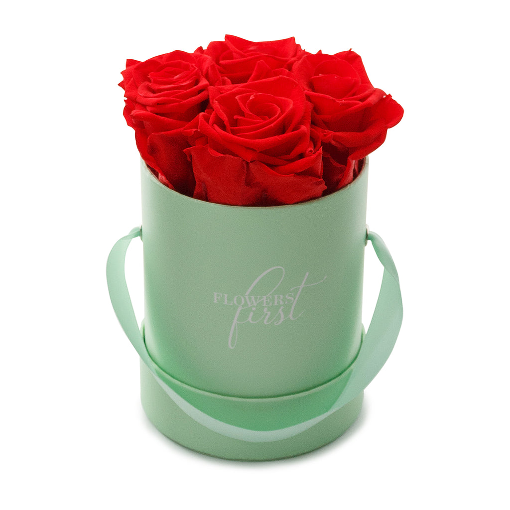 Red Roses & S Round Green Hat Box -1