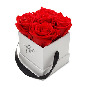 Red Roses & S Square White Hat Box -1