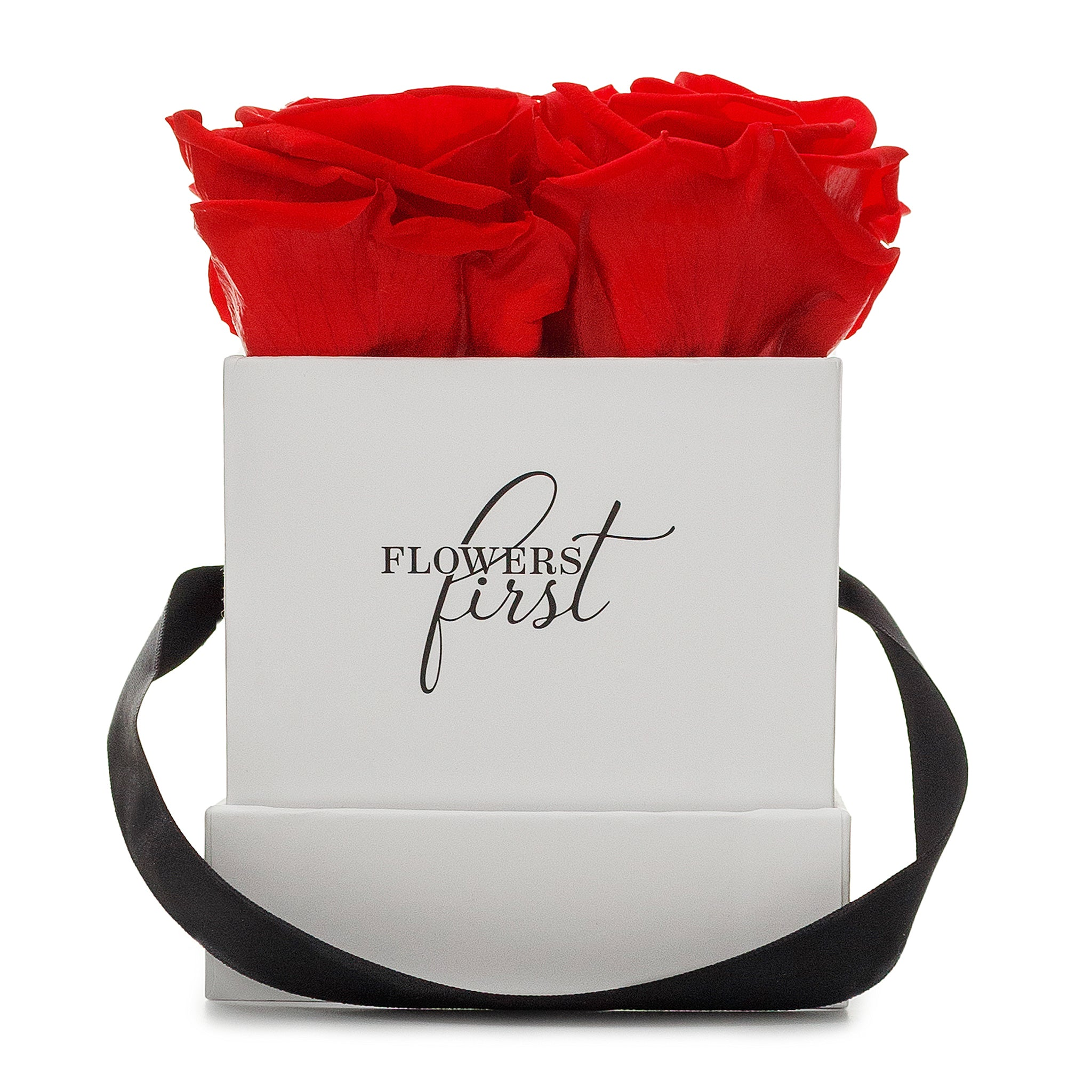 Red Roses & S Square White Hat Box -2