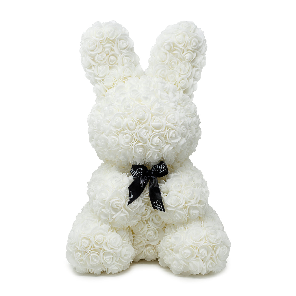 White Luxury Handmade Rose Bunny -1