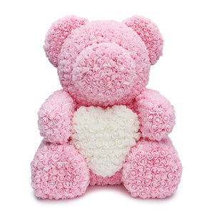 BIG Pink Rose Teddy Bear & White Heart -1