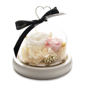 White Infinity Rose in Glass Dome -1