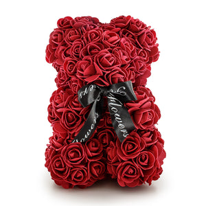 Burgundy Luxury Handmade Rose Teddy Bear -1