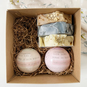 Gift box with 2 bath bombs and three soap bars