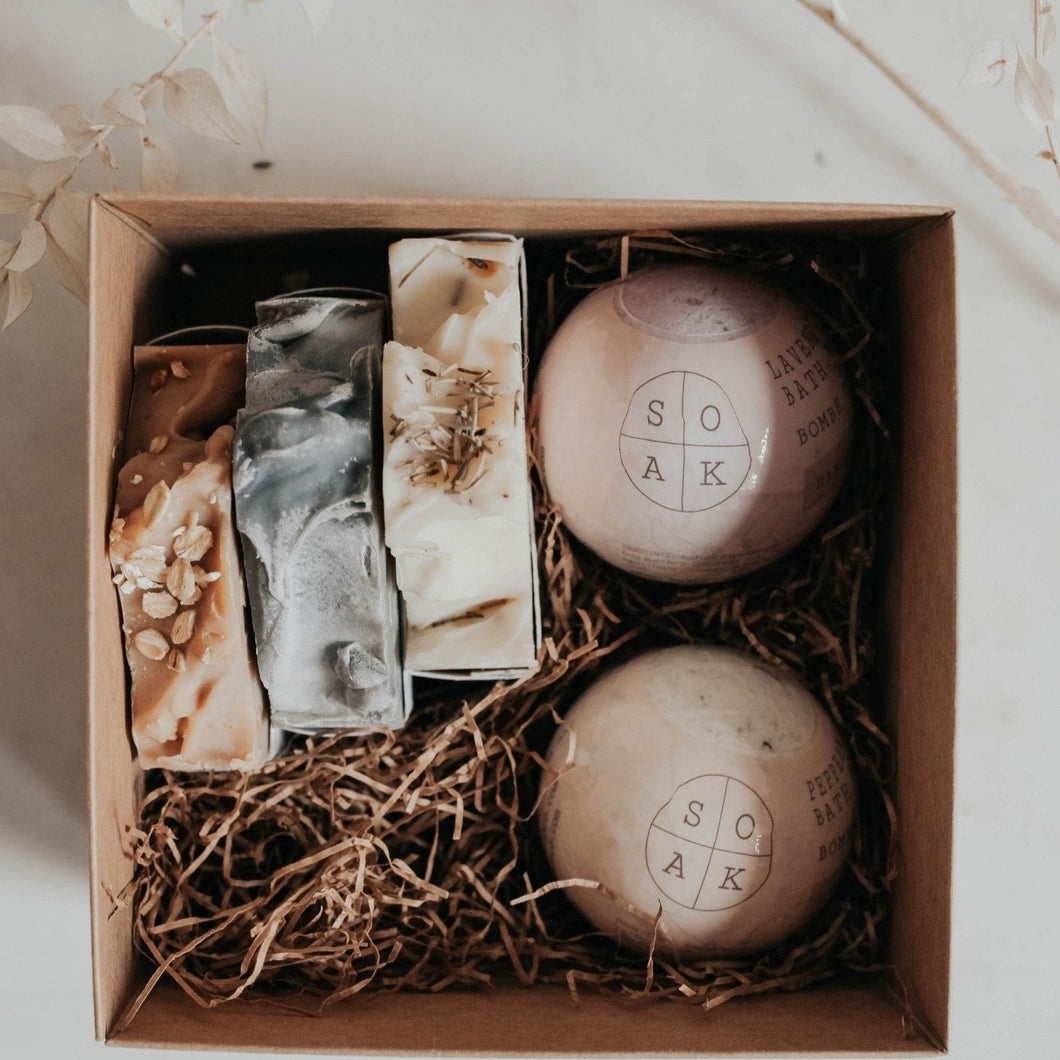 Beautiful gift box with two bath bombs and three soap bars