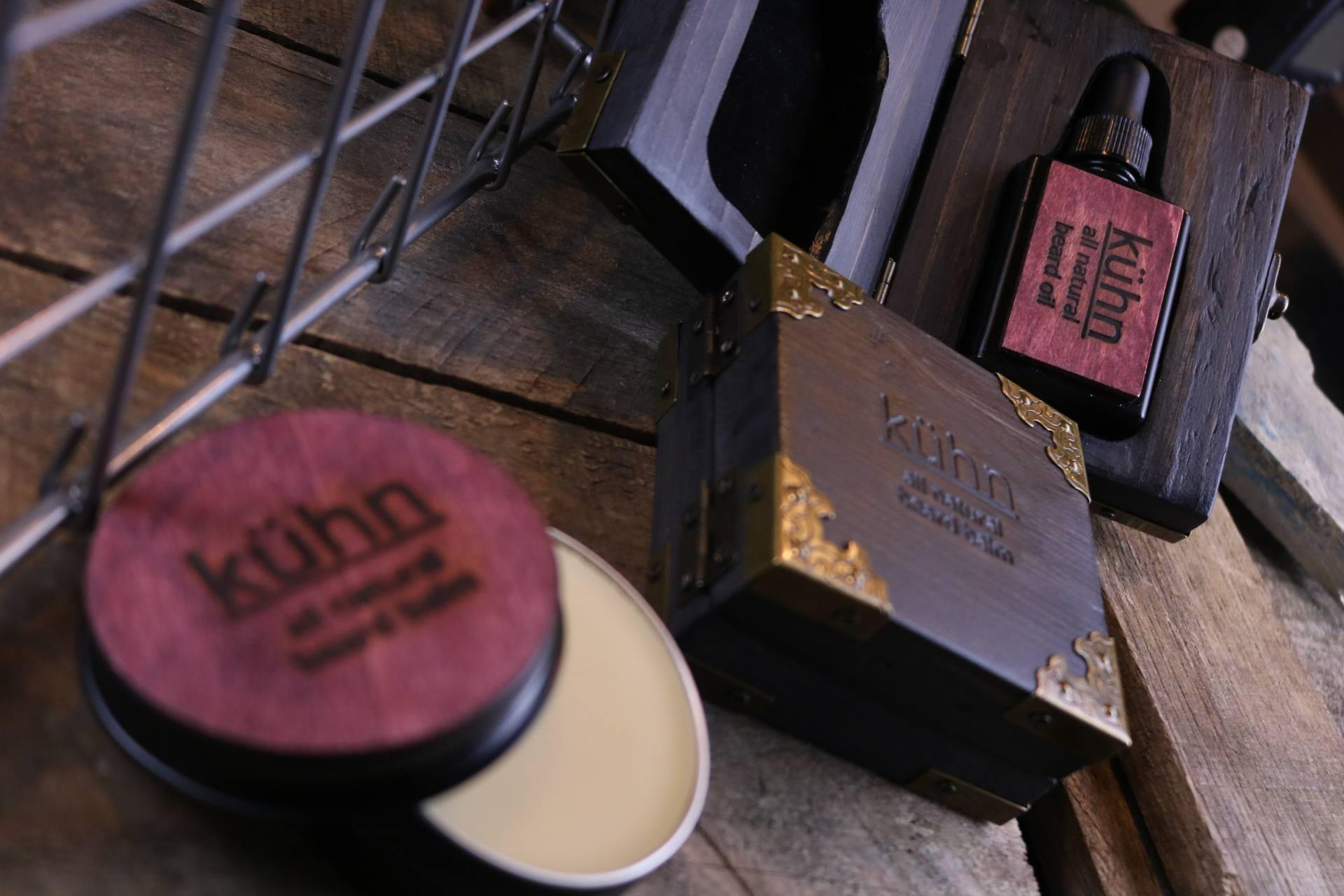 beard balm from kuhn products contains all natural shea butter mango butter and cold pressed oils