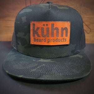 black camo snapback trucker flat bill with leather patch from kuhn products