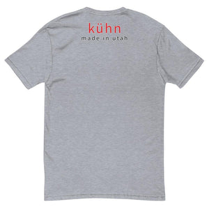 "Kühn logo/front - ""kühn made in utah"" upper back, short sleeve t-shirt, all colors"