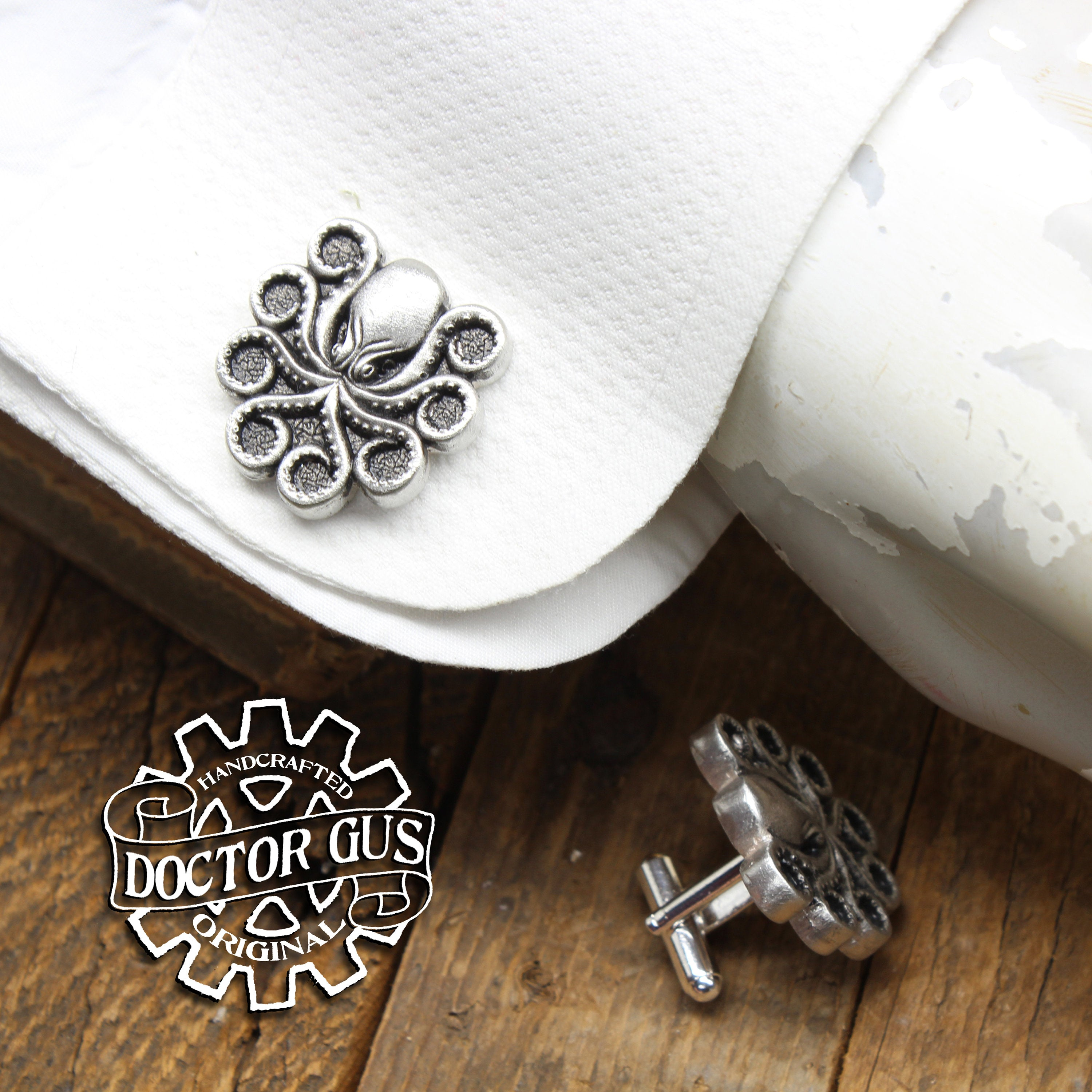 Octopus Cuff Links - Tentacle Cephalopod Accessories by Doctor Gus - Suit and Tie - Men's Gifts - Cthulhu Lovecraft Steampunk Wedding Groom